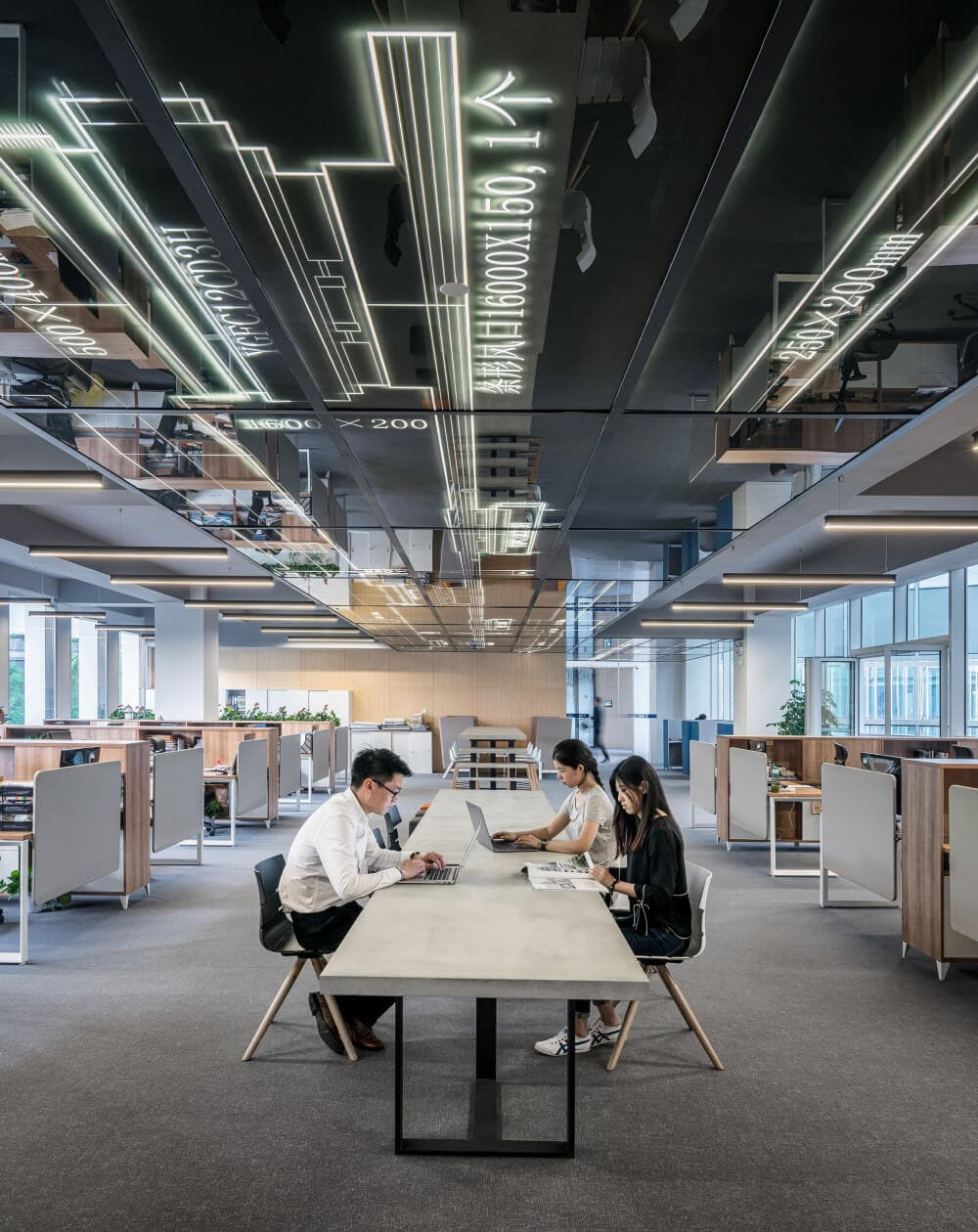 Office with an electric ceiling