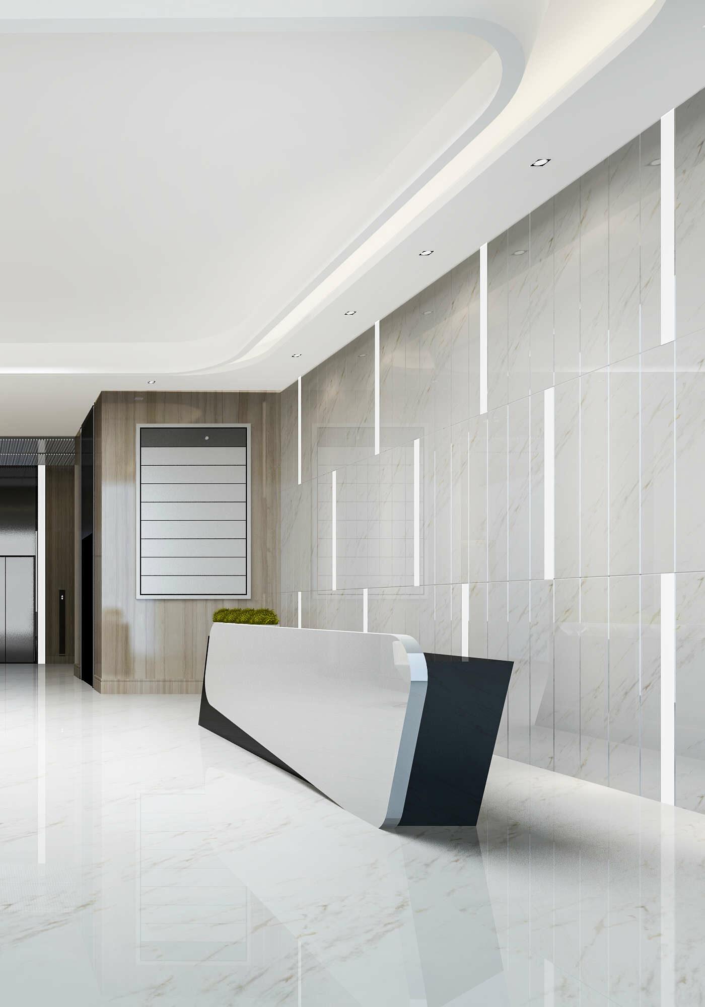 A bright office lobby