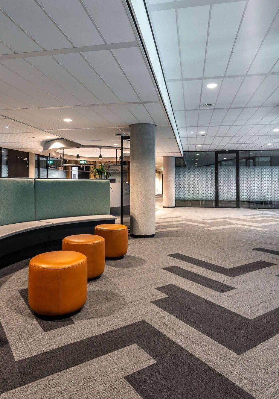 The lobby area of an office building