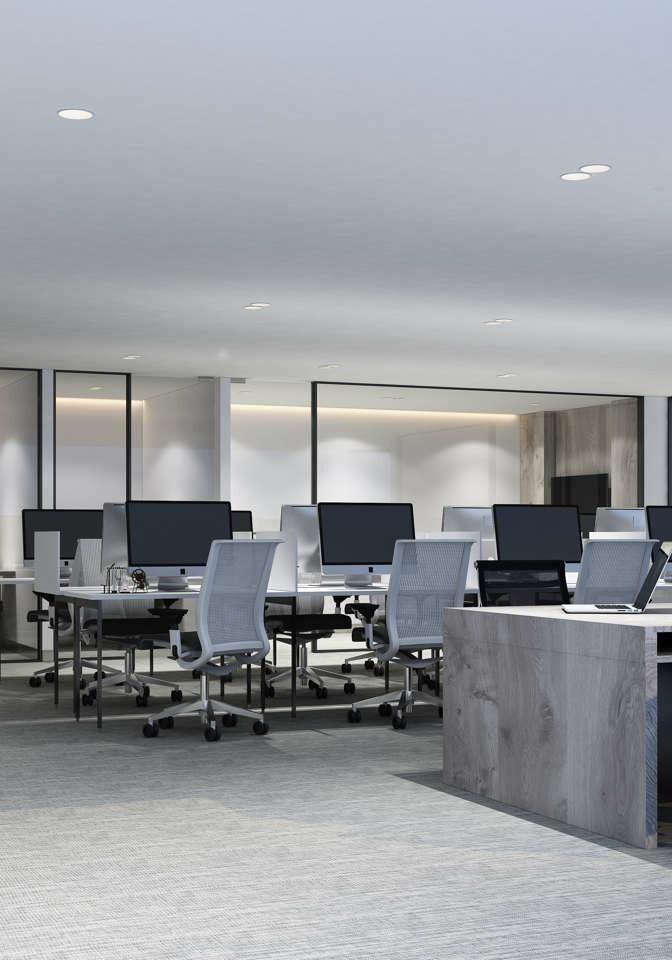 An empty, modern office area